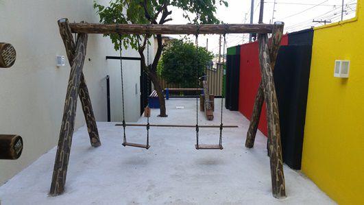 Playground de Madeira Balanço - Tronco de Eucalipto