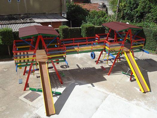 Playground de Madeira Multibrinquedo Duplo