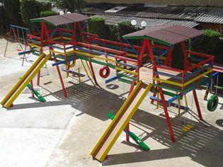 PLAYGROUND DE MADEIRA MULTI-BRINQUEDO DUPLO   - Casinha Infantil Decorlazer