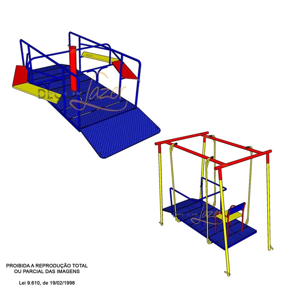 PROMOÇÃO 05 PLAYGROUND ADAPTADO CADEIRANTE 02 BRINQUEDOS   - Casinha Infantil Decorlazer