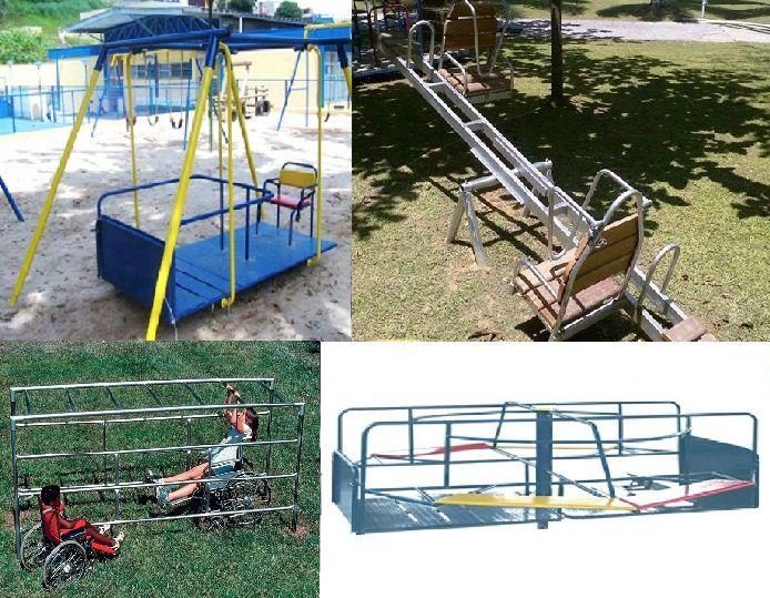 Promoçao 1 - Playground Adaptado Cadeirante 4 Brinquedos