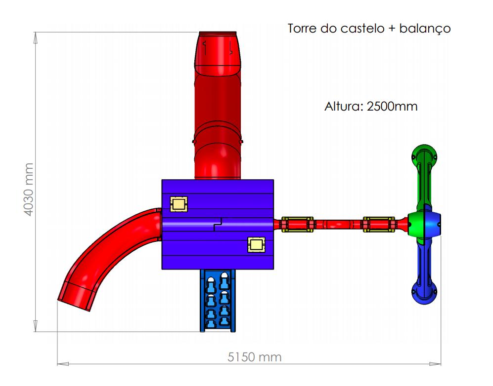 TORRE DO CASTELO + BALANÇO  - Casinha Infantil Decorlazer