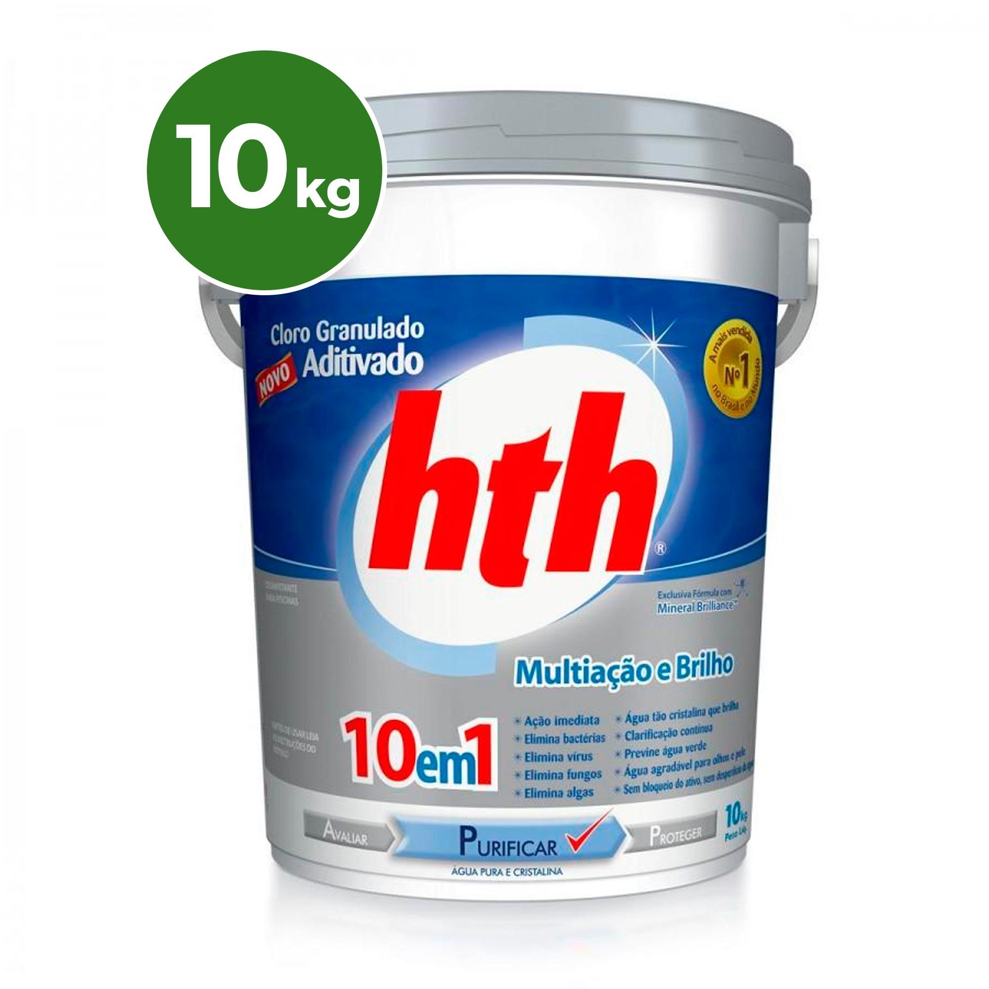 10kg Cloro Granulado 10 em 1 HTH 40% de Cloro Ativo