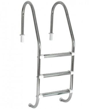 Escada para piscina com 3 Degraus de 1 1/2 em inox anatômico