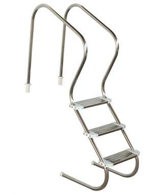 Escada de Piscina para Idoso, Obeso e Fisioterapia 3 Degraus em Inox