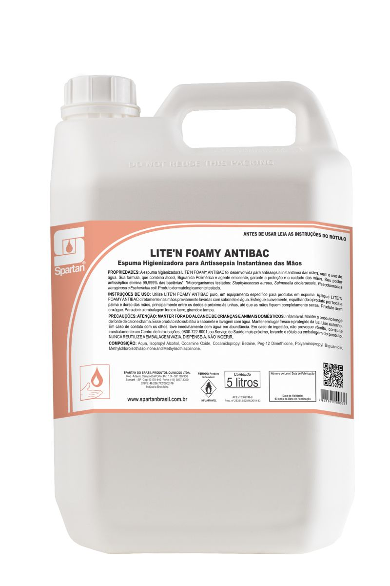 Antibacteriano Lite'n Foamy - Espuma antisséptica para mãos.