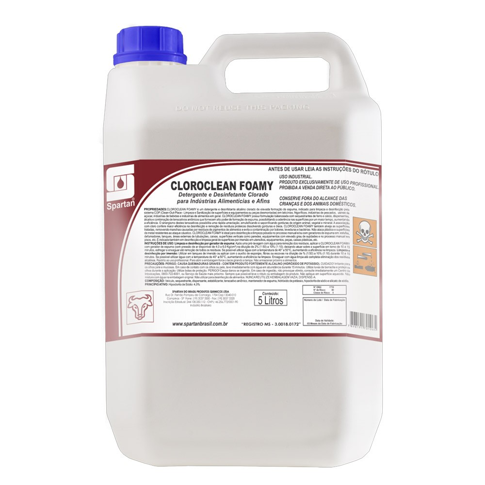 Cloroclean Foamy Detergente Desinfetante 5 Litros