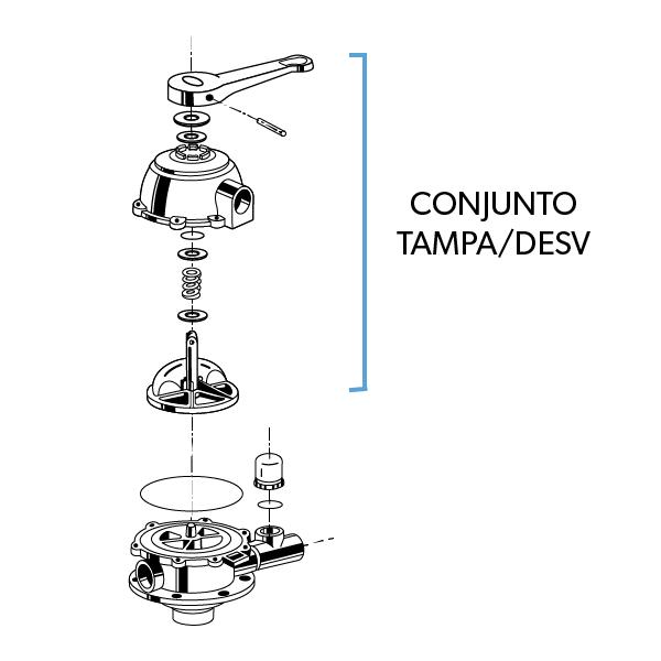Conjunto Tampa/Desv VS6TP15 ABS Preto CF/FIT/TP