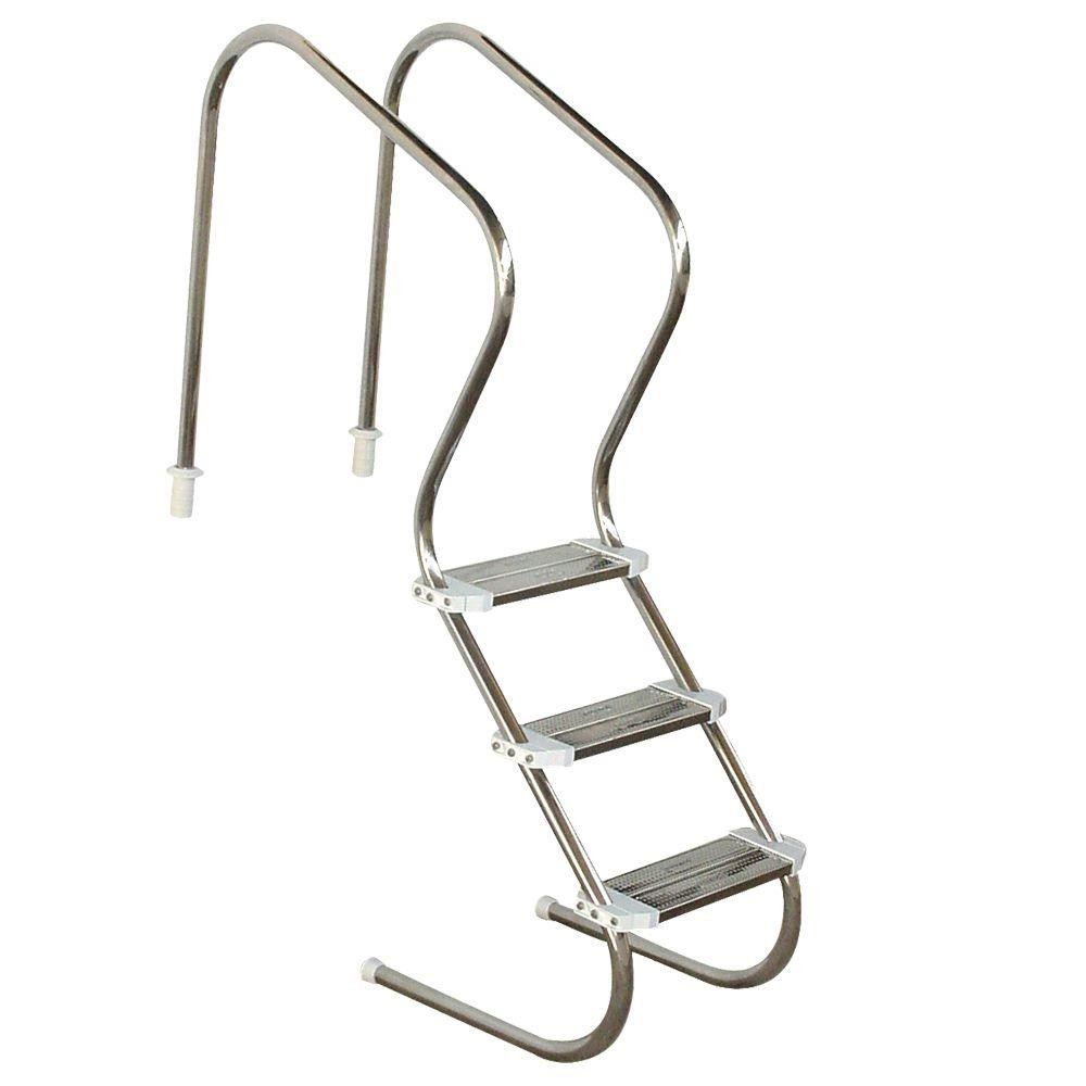Escada de Piscina para Idoso, Obeso e Fisioterapia 3 Degraus em Inox PRONTA ENTREGA