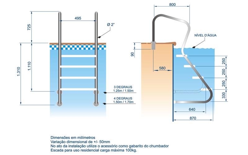 """Escada em Aço  Inox Confort 2"""" com 3 Degraus em Inox"""