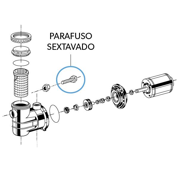 Parafuso Sextavado 1/4X1 com arruela ZC SS72H