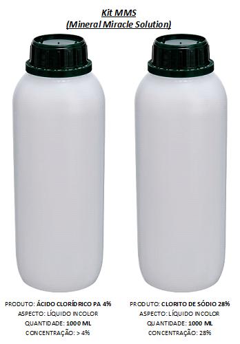 Kit MMS 2000 mL (Clorito de Sódio 28% + HCl PA 4%)
