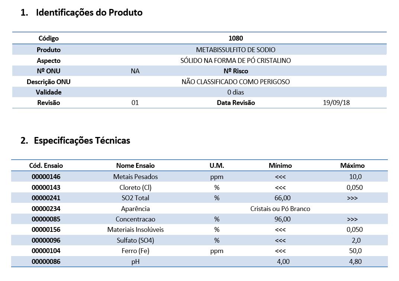 Metabissulfito de Sódio - 1 Kg (Grau Alimenticio)