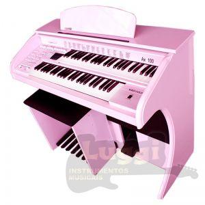 Órgão Eletrônico Digital Acordes - AX100 Gold Rosa Auto Brilho - 49 Teclas