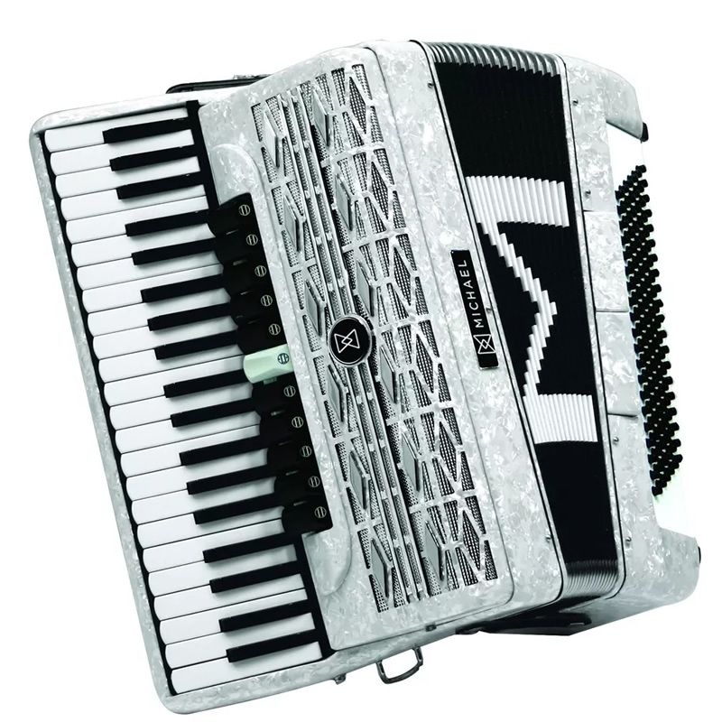 Acordeon Michael 120 Baixos Acm12011 Branco  - Luggi Instrumentos Musicais