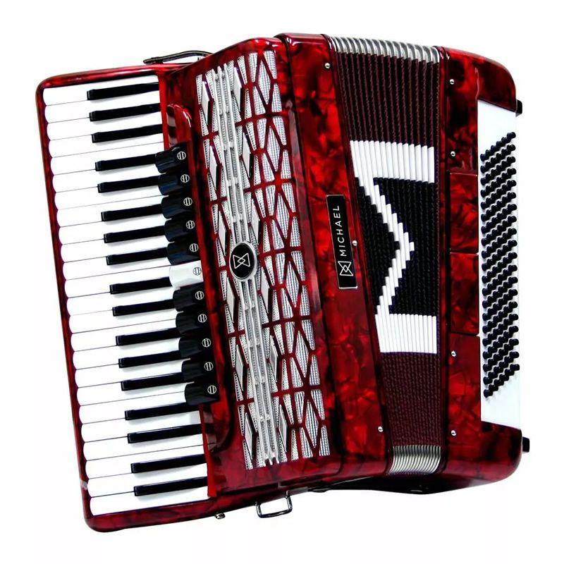 Acordeon Michael 120 Baixos Acm12011 Vermelho  - Luggi Instrumentos Musicais