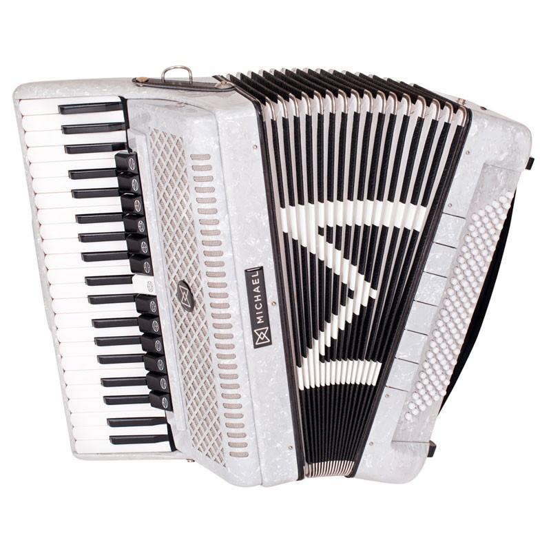 Acordeon Michael 120 Baixos Acm12013-6N Branco Perolado  - Luggi Instrumentos Musicais