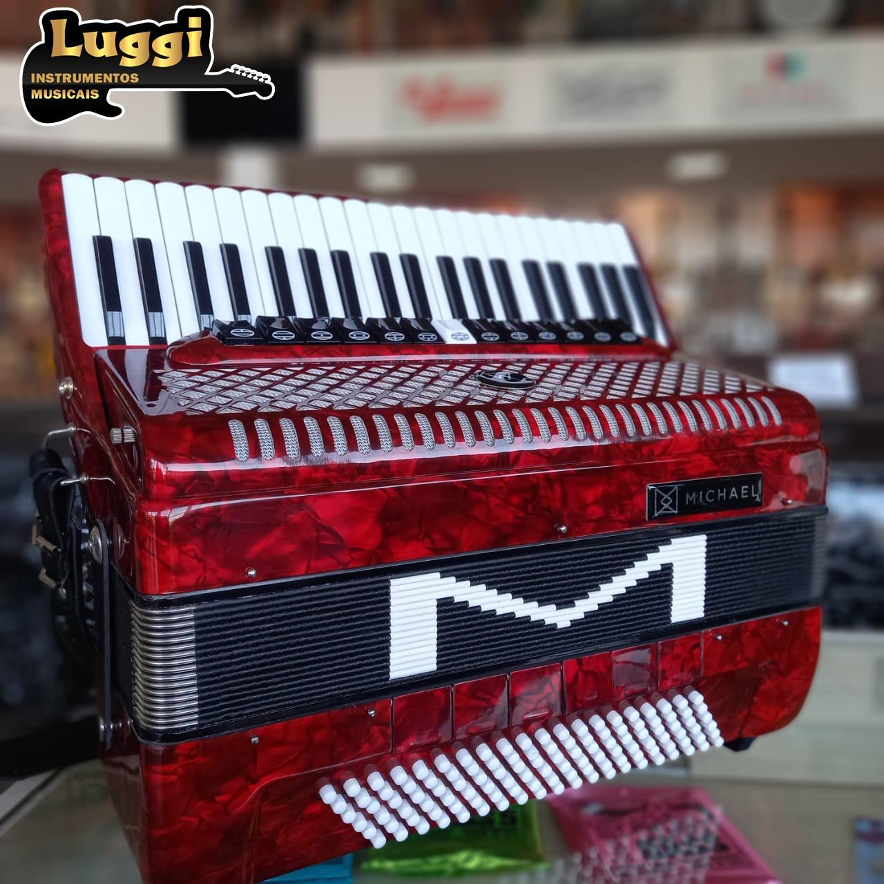 ACORDEON MICHAEL 120 BAIXOS ACM12013-6N VERMELHO PEROLADO  - Luggi Instrumentos Musicais
