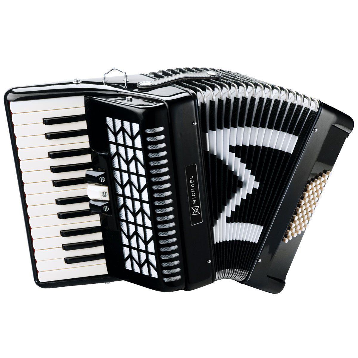 Acordeon Michael 48 Baixos Acm4803 Preto  - Luggi Instrumentos Musicais