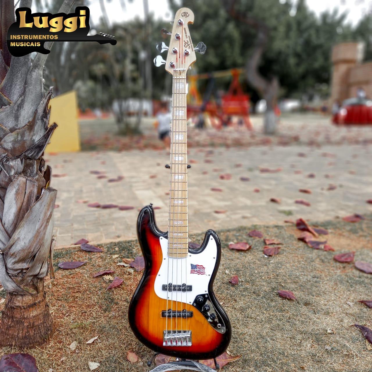BAIXO 5 CORDAS SX SJB755 JAZZ BASS SUNBURST  - Luggi Instrumentos Musicais