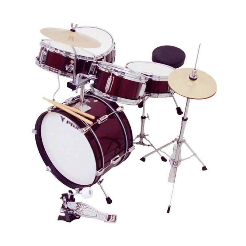 """Bateria Phx Infantil Ds514C 14"""" Vinho  - Luggi Instrumentos Musicais"""