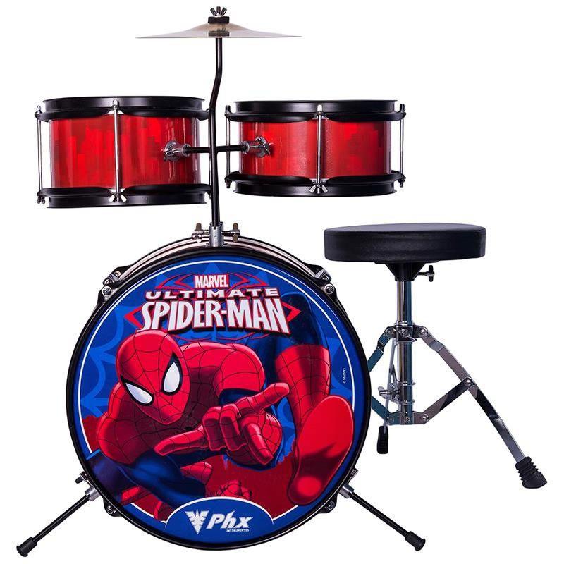 Bateria Phx Infantil Personagens - Marvel Homem Aranha  - Luggi Instrumentos Musicais