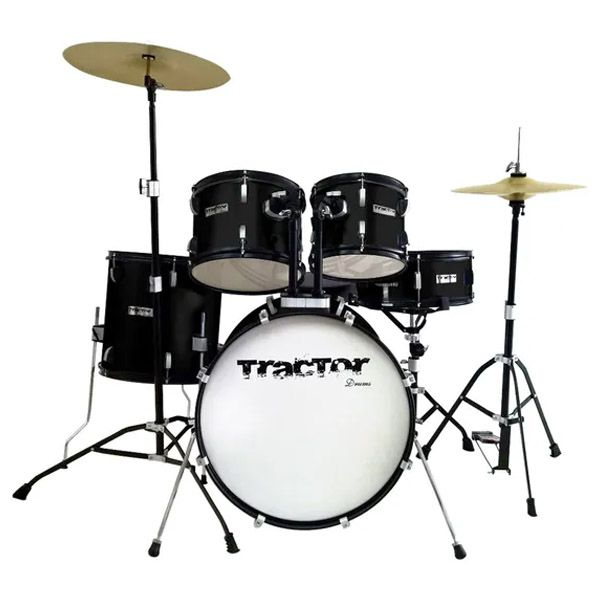 BATERIA TRACTOR 220 PRETA COM PRATOS/BANCO  - Luggi Instrumentos Musicais