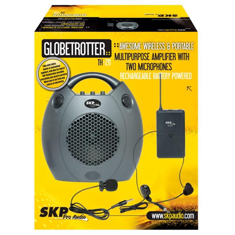 Kit Portátil de Microfone + Auto Falante para Palestras SKP Globetrotter TH 211  - Luggi Instrumentos Musicais