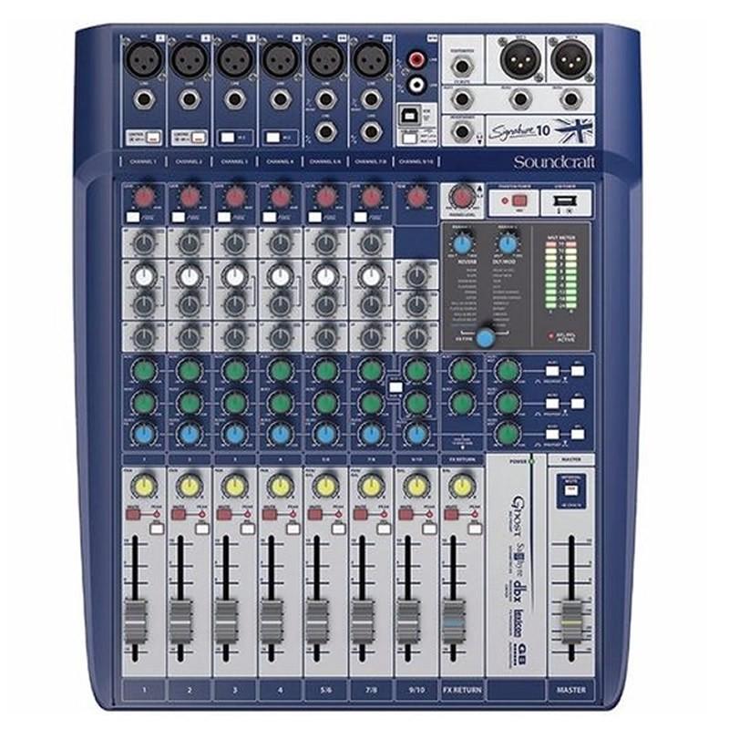 MESA 10 CANAIS SOUNDCRAFT SIGNATURE 10 CANAIS DIGITAL  - Luggi Instrumentos Musicais