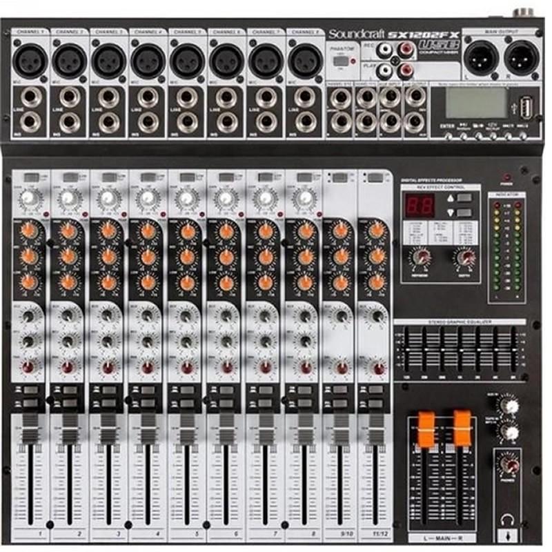 MESA 12 CANAIS SOUNDCRAFT SX1202FX USB  - Luggi Instrumentos Musicais