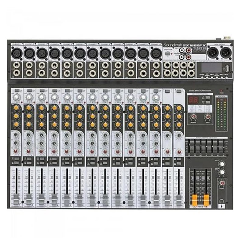 MESA 16 CANAIS SOUNDCRAFT SX1602FX USB  - Luggi Instrumentos Musicais