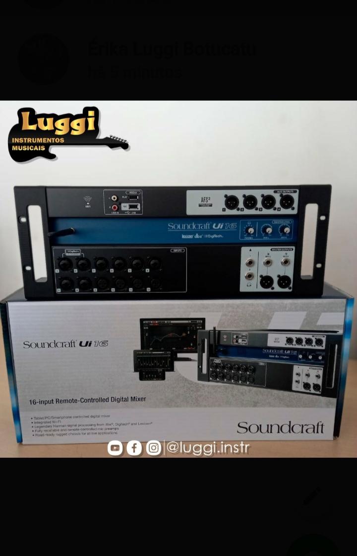 MESA 16 CANAIS SOUNDCRAFT UI-16 DIGITAL  - Luggi Instrumentos Musicais