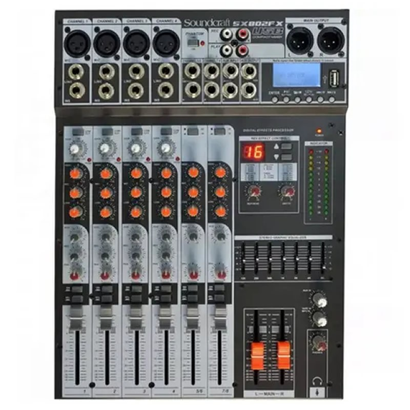 MESA 8 CANAIS SOUNDCRAFT SX802FX USB  - Luggi Instrumentos Musicais