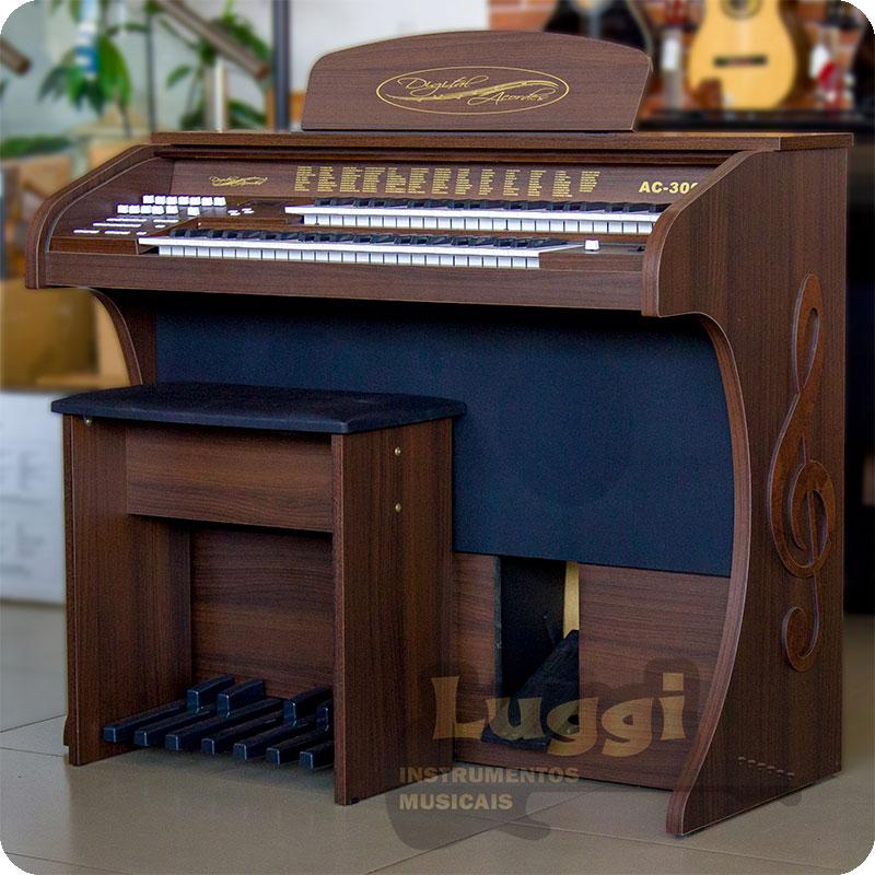 Órgão Acordes - AC300 Marrom Fosco - 49 Teclas  - Luggi Instrumentos Musicais
