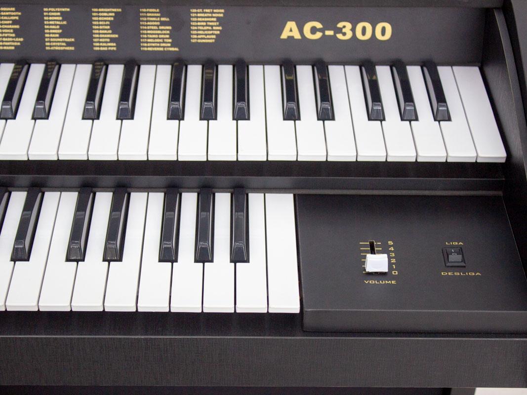 Órgão Acordes - AC300 Preto Fosco - 49 Teclas  - Luggi Instrumentos Musicais