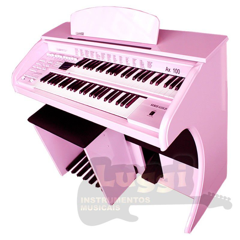 Órgão Eletrônico Digital Acordes - AX100 Gold Rosa Auto Brilho - 49 Teclas  - Luggi Instrumentos Musicais