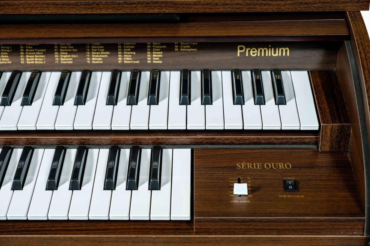 Órgão Eletrônico Digital Acordes - Premium Marrom Fosco - Clave de Sol - 44 Teclas  - Luggi Instrumentos Musicais