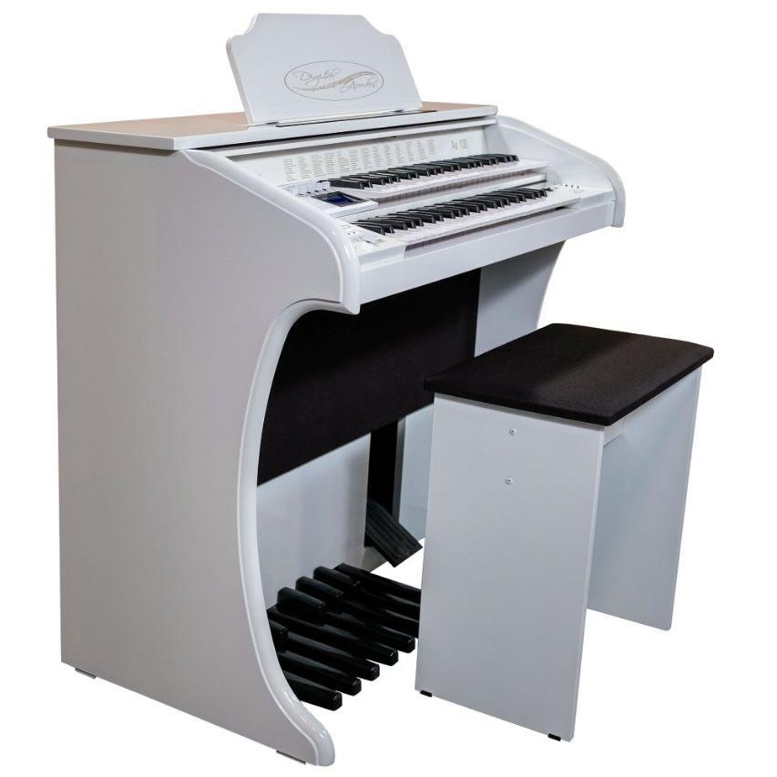 Órgão Eletrônico Digital Acordes - AX100 Gold Branco Auto Brilho - 49 Teclas  - Luggi Instrumentos Musicais