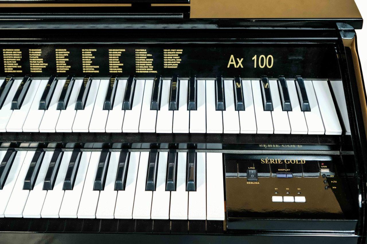 Órgão Eletrônico Digital Acordes - AX100 Gold Preto Auto Brilho - 49 Teclas  - Luggi Instrumentos Musicais