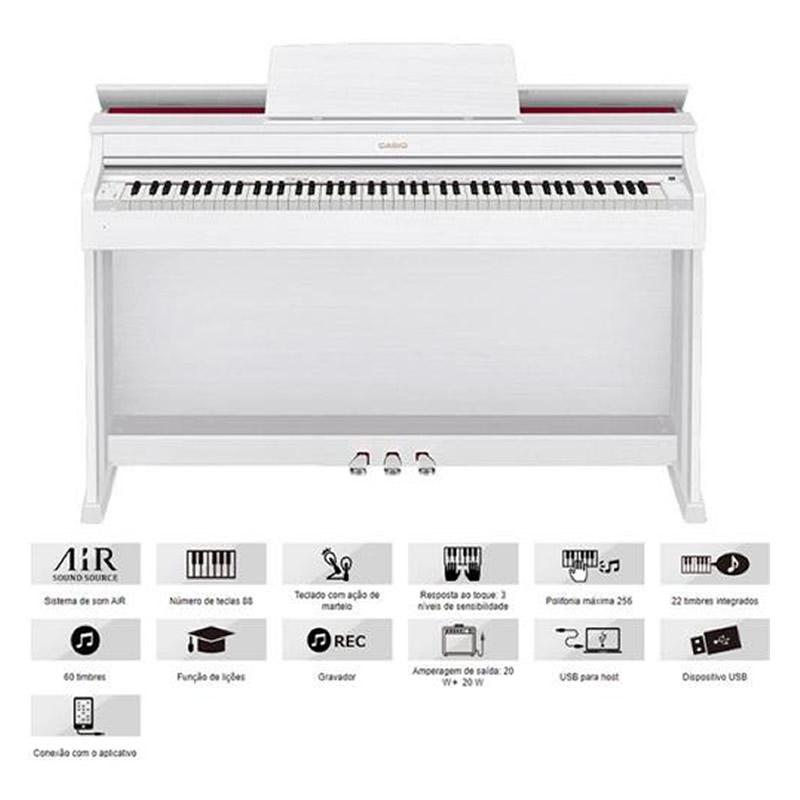 PIANO CASIO CELVIANO AP470 DIGITAL BRANCO  - Luggi Instrumentos Musicais