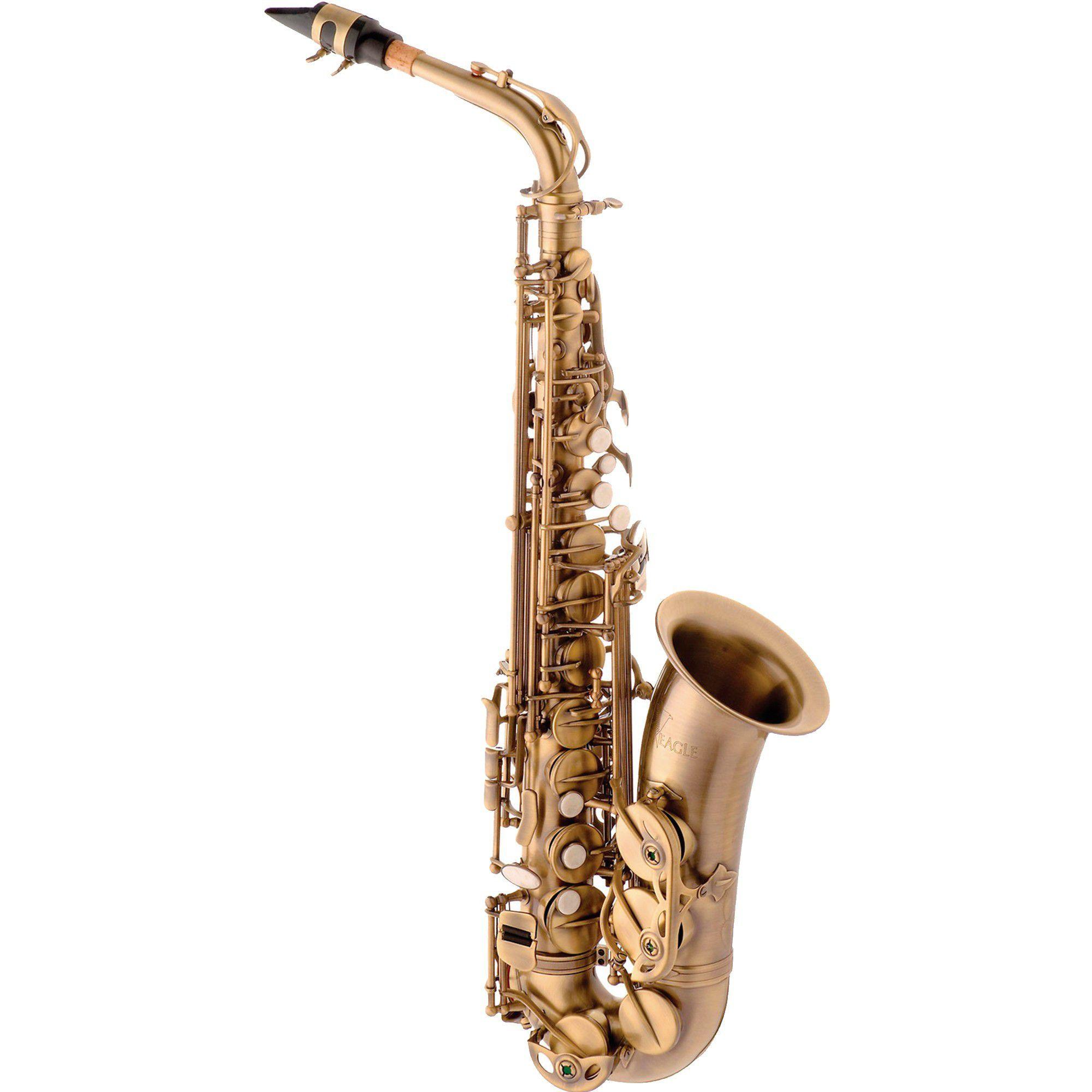Sax Alto Eagle Sa500Vg Dourado Escovado  - Luggi Instrumentos Musicais