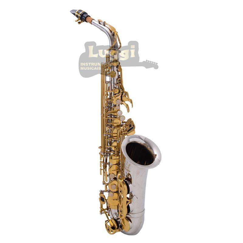 Sax Alto Schieffer Niquelado/Dourado Schas006  - Luggi Instrumentos Musicais