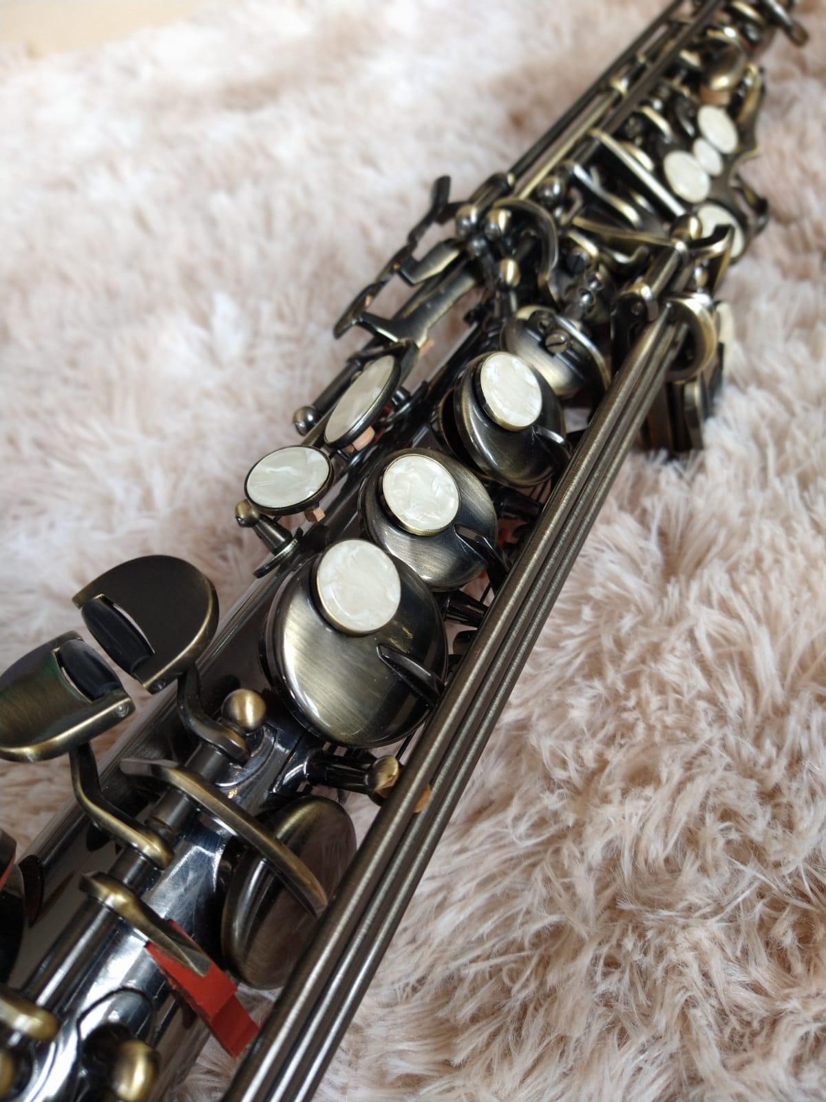 SAX SOPRANO CONDOR KG05688 ANTIQUE BRONZE  - Luggi Instrumentos Musicais