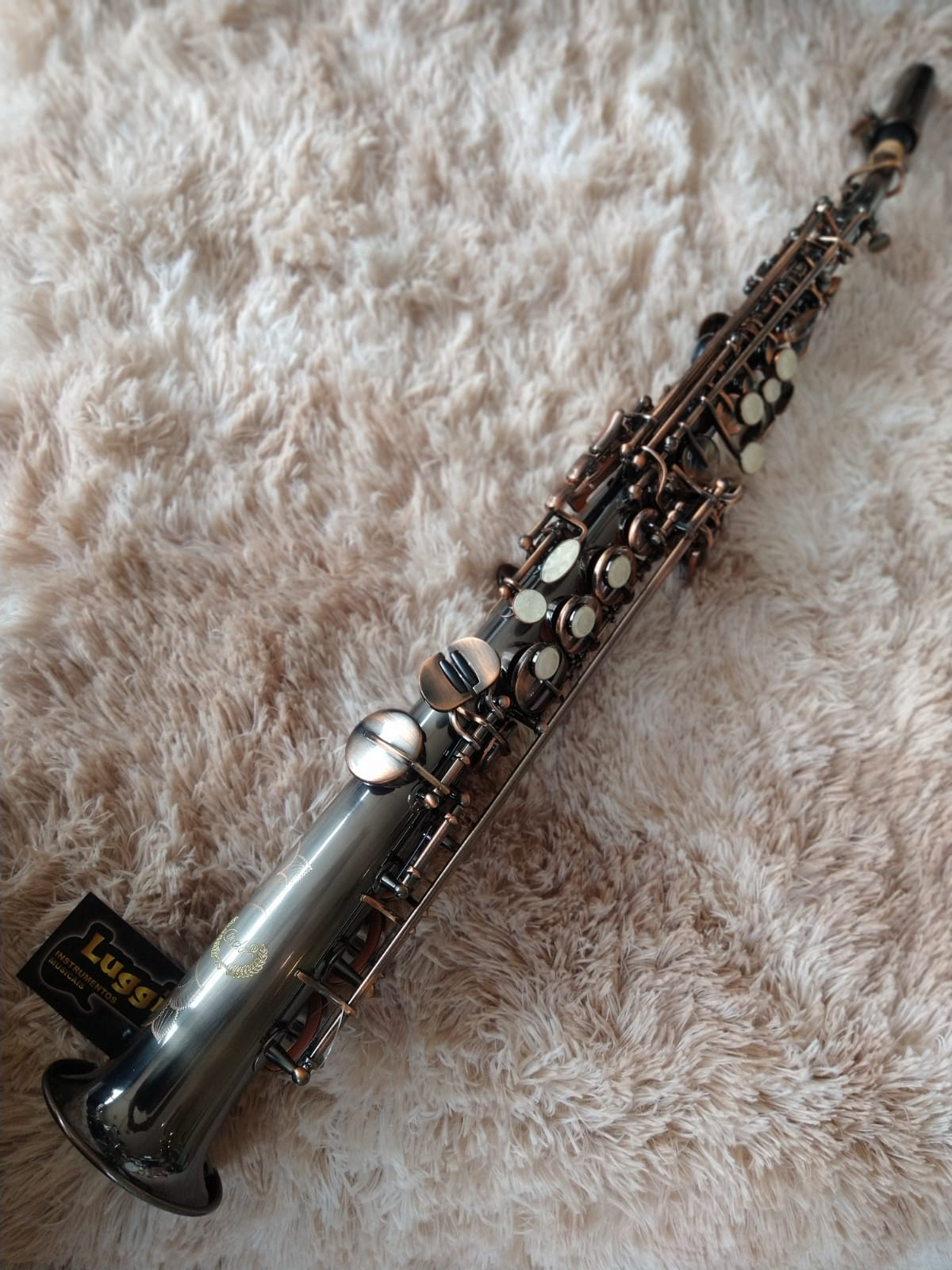 SAX SOPRANO CONDOR KG5688 ANTIQUE SILVER  - Luggi Instrumentos Musicais