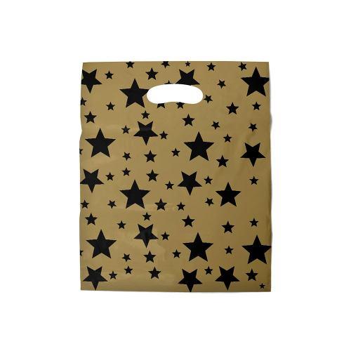 Sacola Boca De Palhaço - Estrelada Dourado - 40x50cm/40 Unid