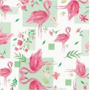 Saco de Presente Metalizado - Flamingos 20x30 (50 unidades)