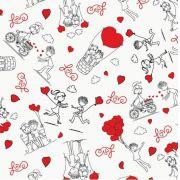 Saco de Presente Metalizado - Love Story 30x45 (50 unidades)