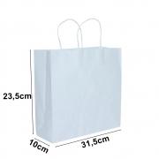 Sacola de papel Kraft Branco - 23,5x31,5cm - 10 unidades 90g