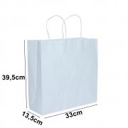 Sacola de papel Kraft Branco - 39,5x33cm - 10 unidades 90g