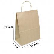 Sacola de papel Kraft Natural - 23,5x31,5x10cm - 10 unidades 90g